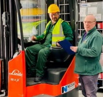 new forklift truck with members of Grotech staff