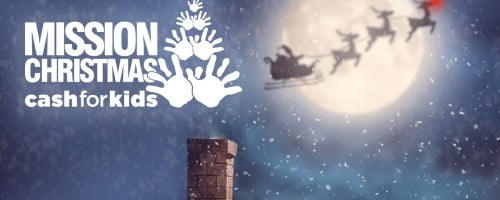 mission christmas cash for kids logo above chimney with santa sleigh in background