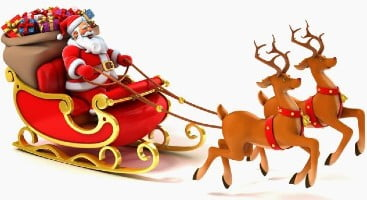Santa's Sleigh filled with presents and pulled by reindeer