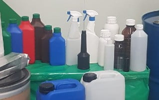 Different types of bottles and jerrycans