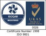 ISOQAR Registered certificate number logo