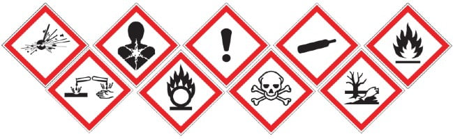 montage of different safety pictograms