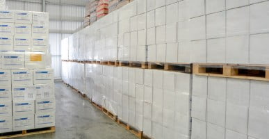 rows of carefully stacked pallets