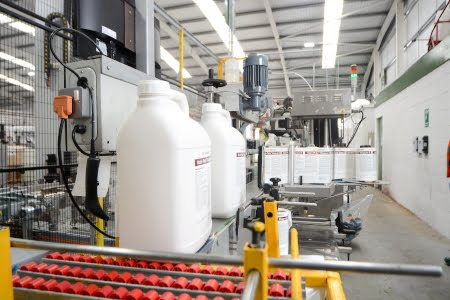 bottle labelling on a production line