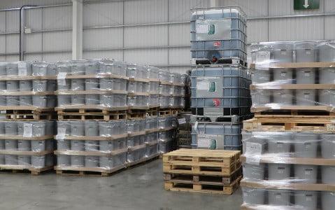 palletised tubs of powder