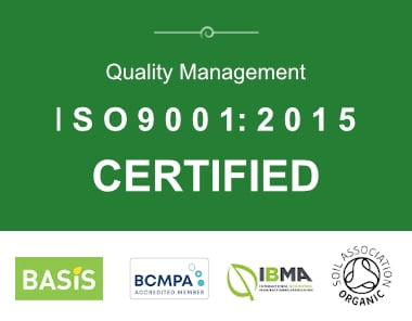 iso certified and logos for basis, bcmpa, ibma and the soil association