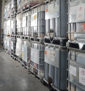 ibcs stacked in warehouse