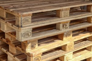 block of pallets stacked on top of one another
