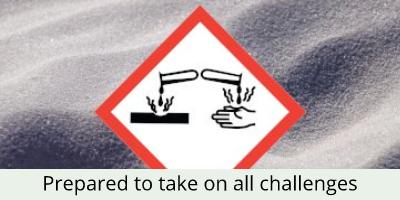 hazard symbol with powder background