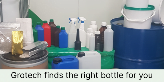 selection of packaging bottles